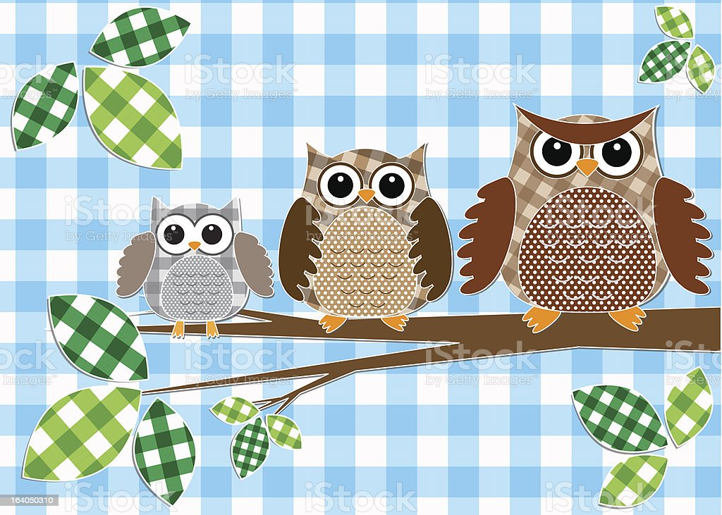 Family of owls royalty-free stock vector art