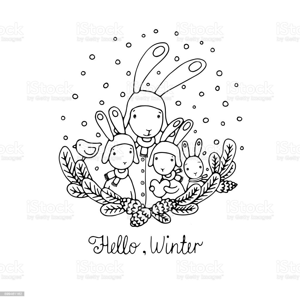 Family of rabbits, tree branches and bird. vector art illustration