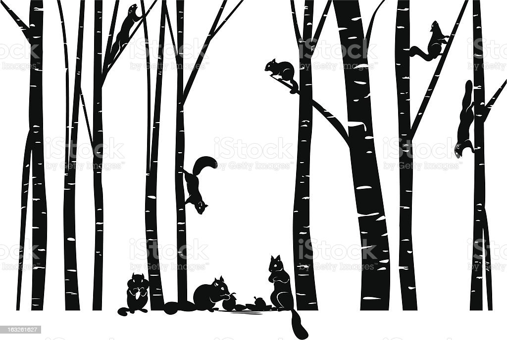 Family of Squirrel in the forest vector art illustration