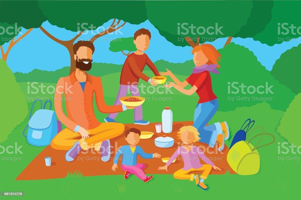 Family on a picnic vector art illustration