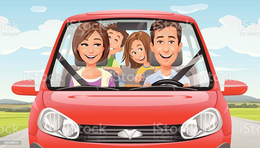 Family On A Road Trip vector art illustration