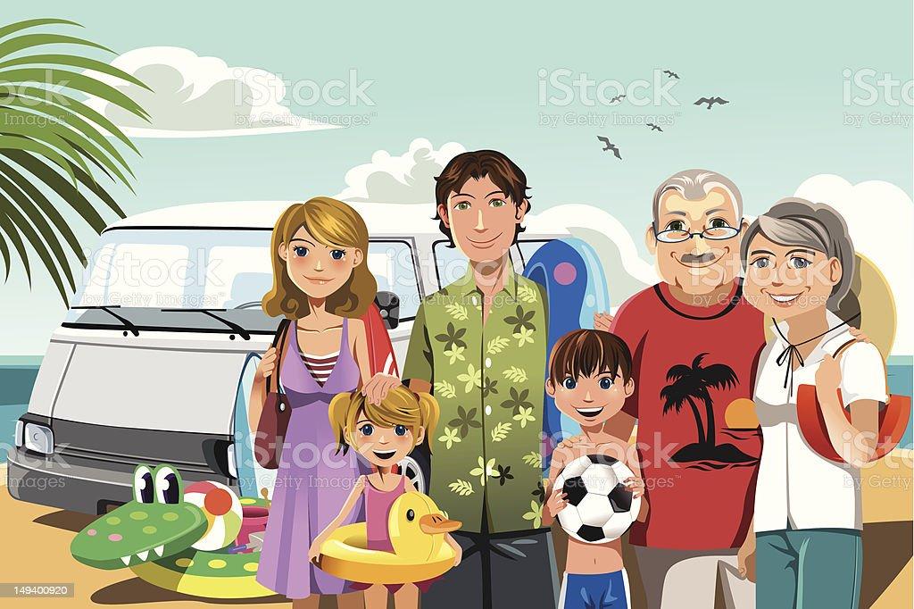 Family on beach vacation vector art illustration