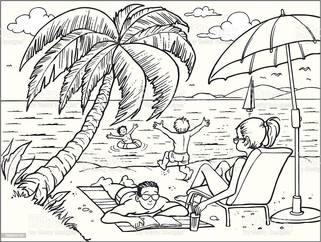 Family On Beach stock vector art 165634435 | iStock
