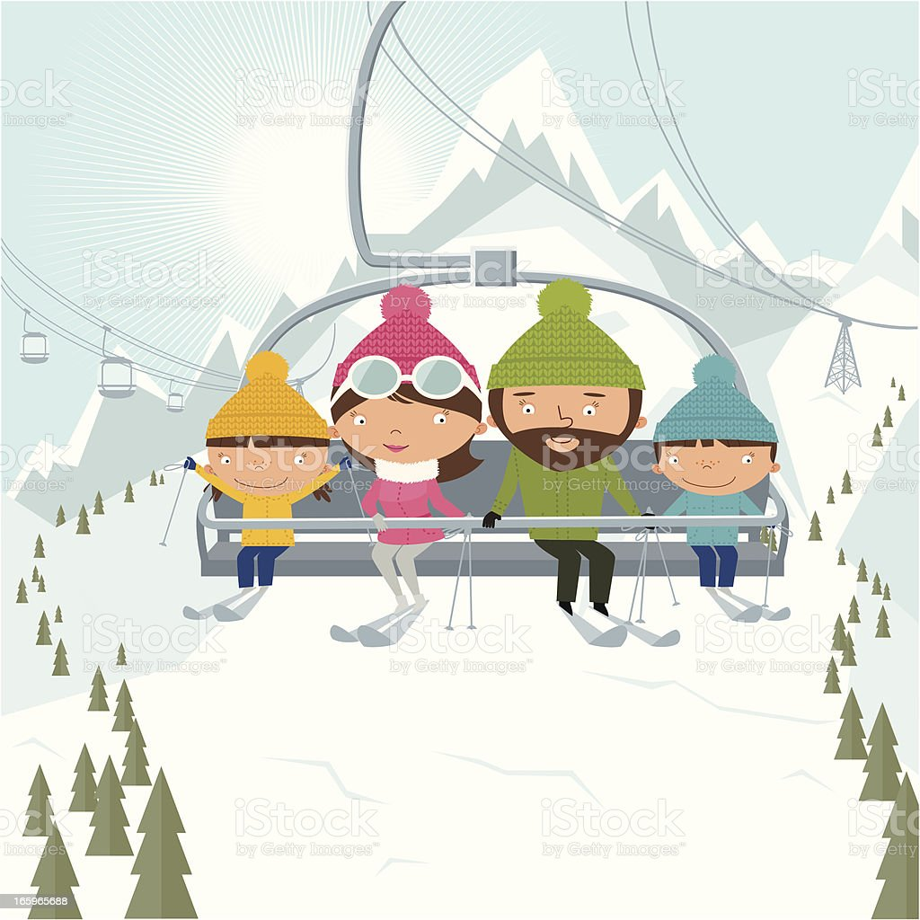 Family on chairlift at ske resort vector art illustration