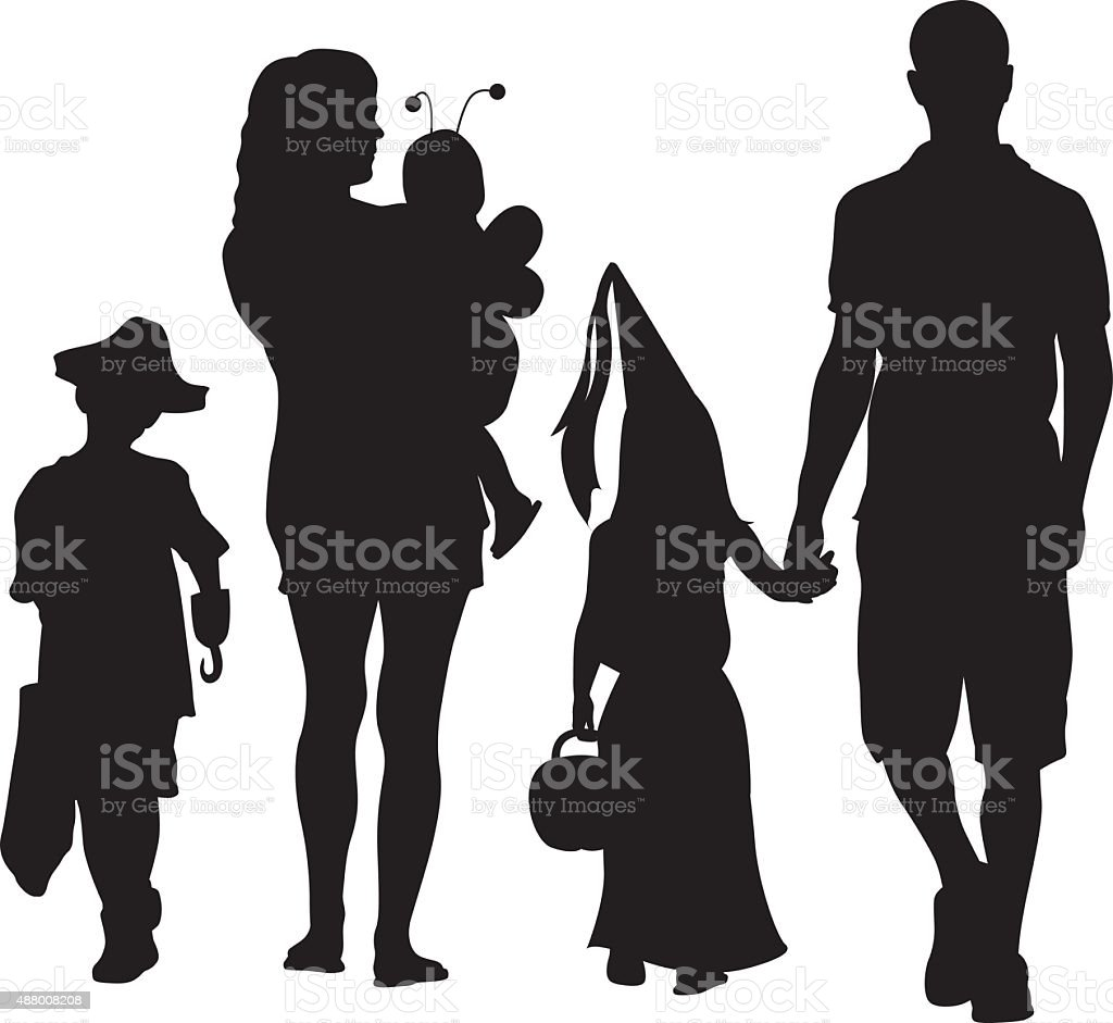 Family On Halloween vector art illustration