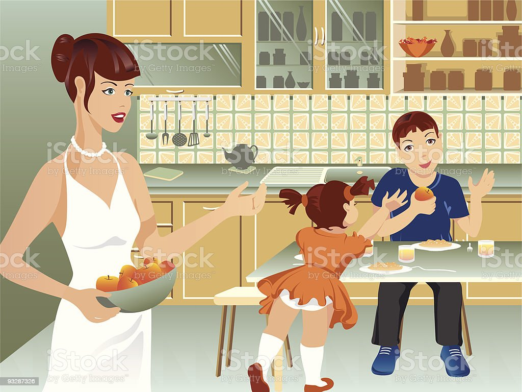 Family on kitchen royalty-free stock vector art