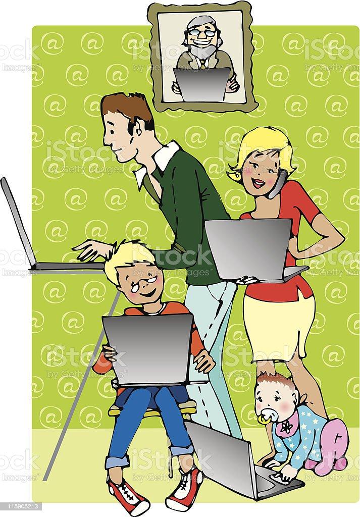 Family on line royalty-free stock vector art