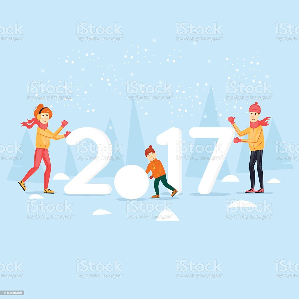 Family on the nature of the snow sculpting. vector art illustration