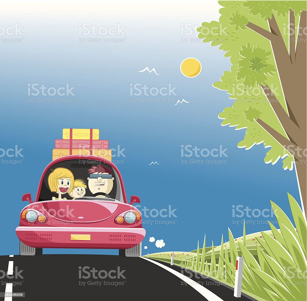 family on the way for holiday vector art illustration