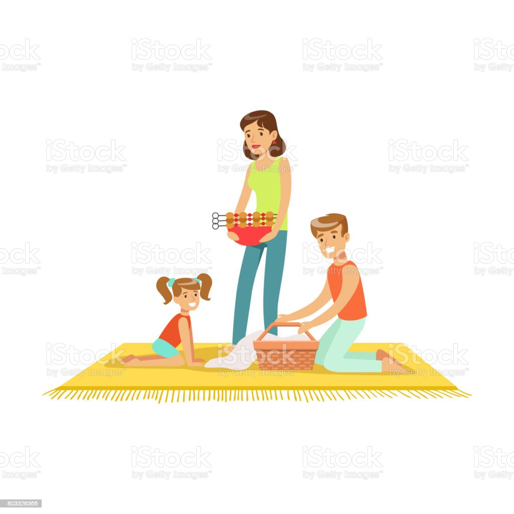 Family on vacation having barbeque outdoors vector Illustration vector art illustration
