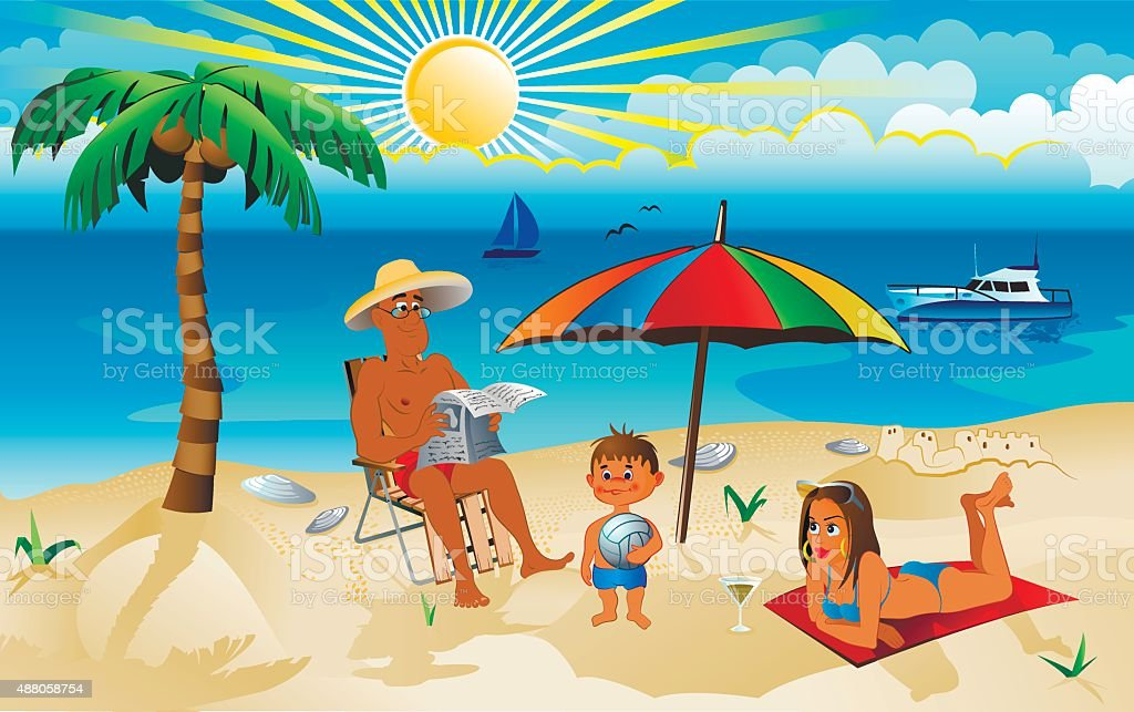 family on vacation vector art illustration