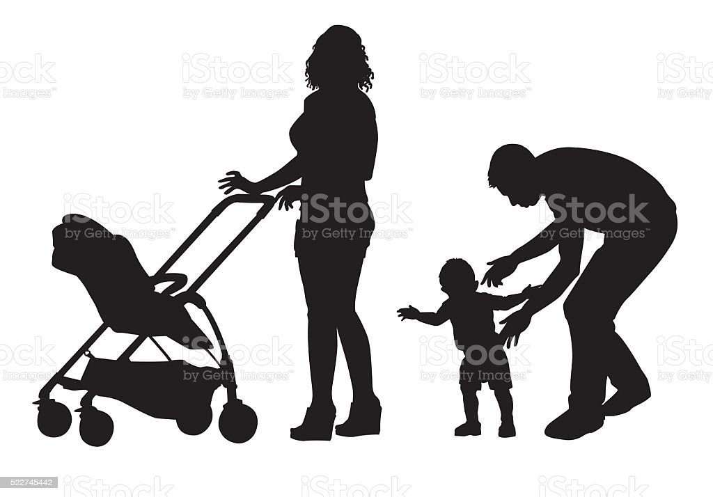 Family on walk vector art illustration