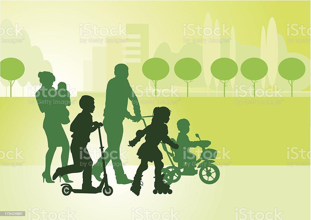 Family on walk_1 royalty-free stock vector art