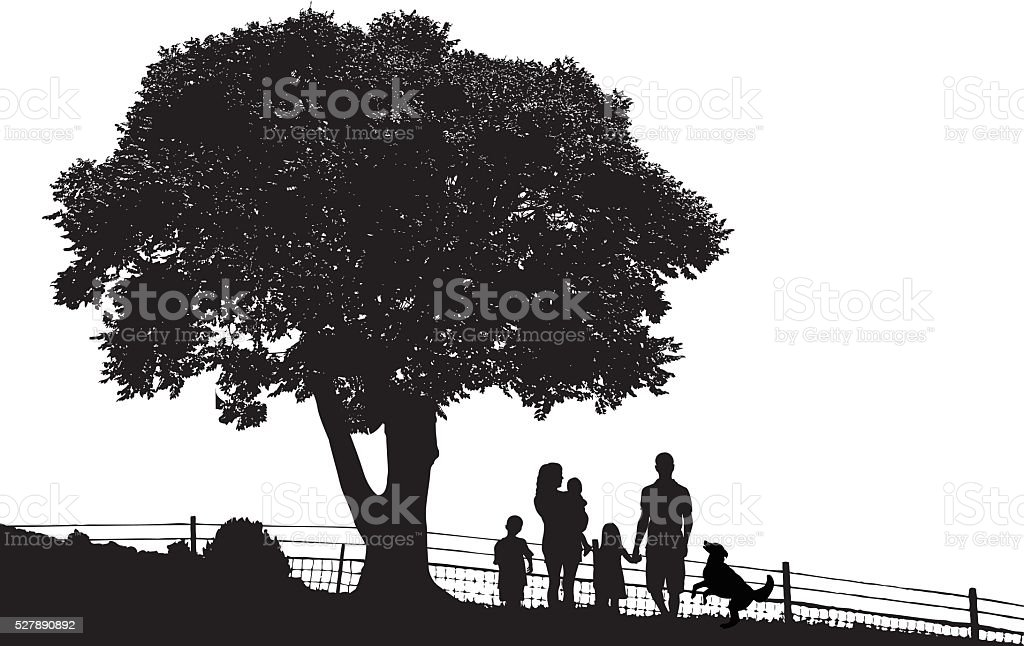 Family Out In The Country vector art illustration