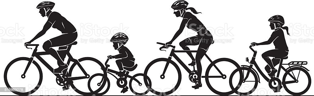 Family Outdoor Bicycle Ride vector art illustration