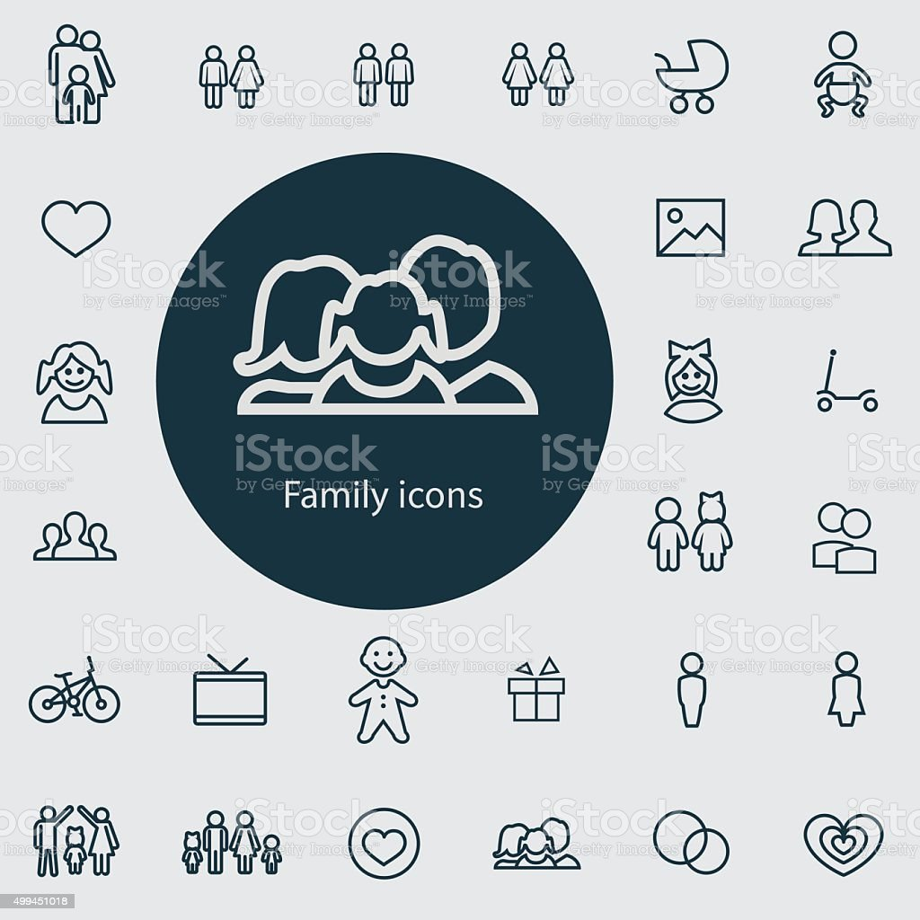 family outline, thin, flat, digital icon set vector art illustration