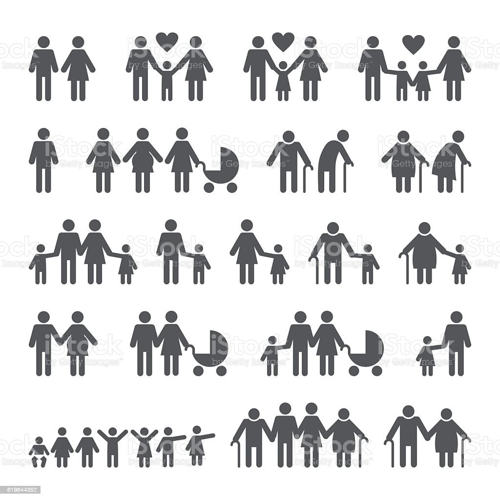 Family People Icons vector art illustration