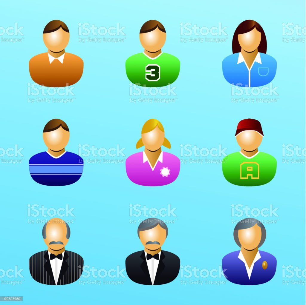 Family People User Icon Set royalty-free stock vector art