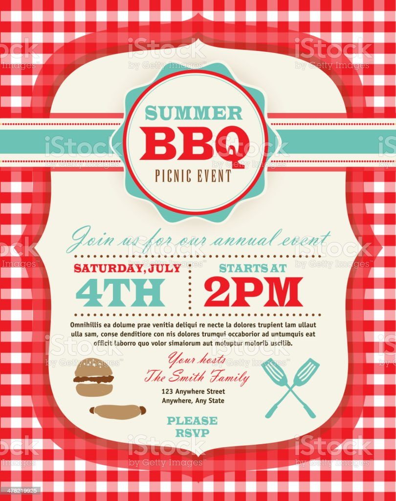 Family Picnic and BBQ invitation design template on checkered tablecloth vector art illustration