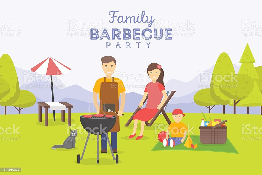 Family picnic. Bbq party. Food and barbeque, summer and grill. vector art illustration