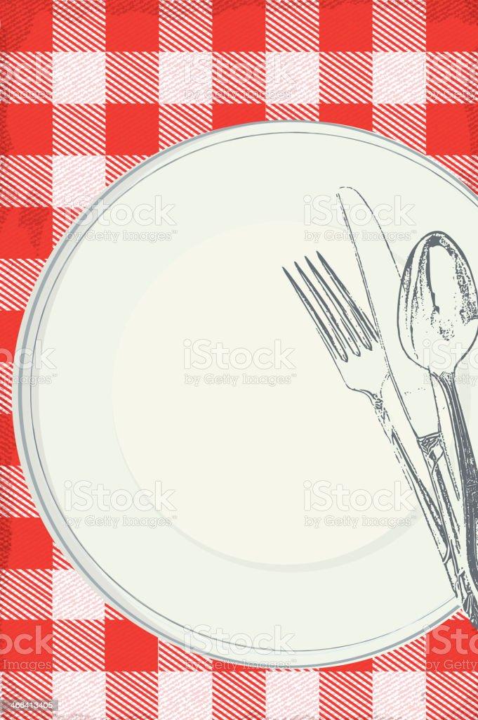 Family picnic lunch invitation design template vector art illustration