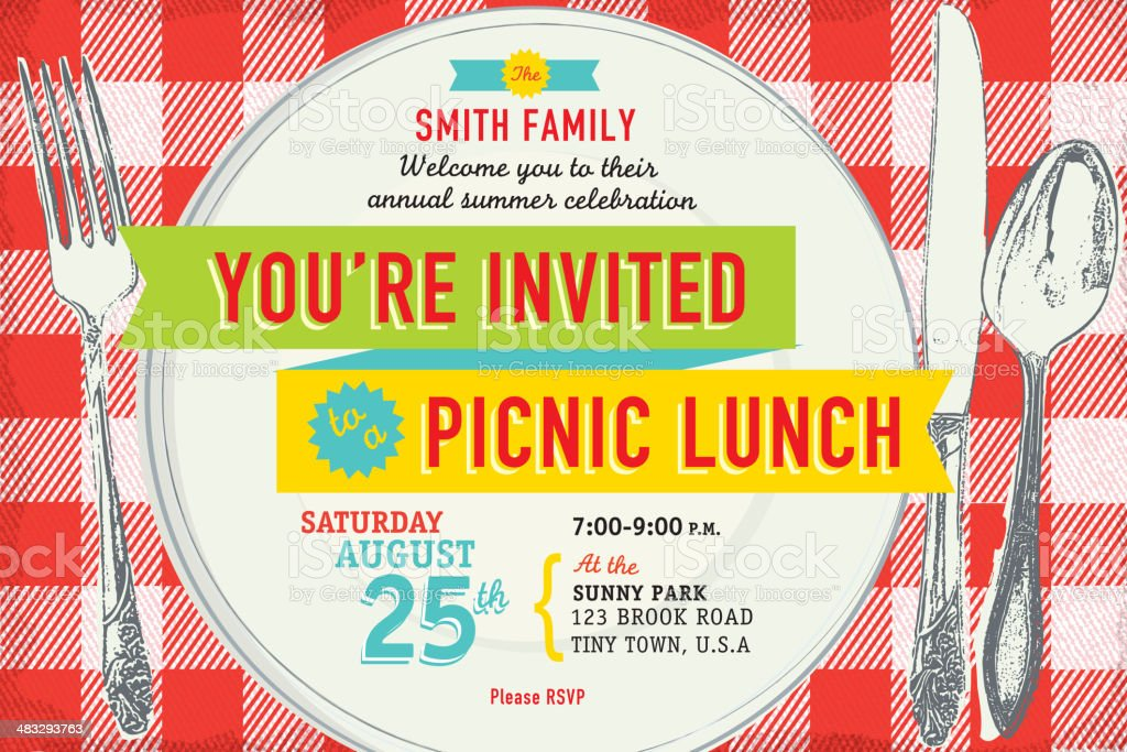 Family picnic lunch invitation design template royalty-free stock vector art