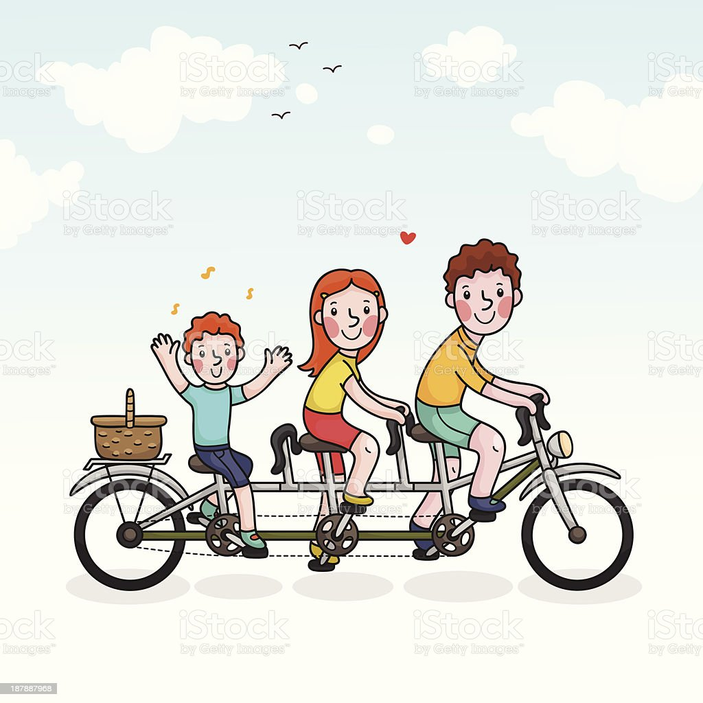 Family picnic parents and son tandem bicycle royalty-free stock vector art