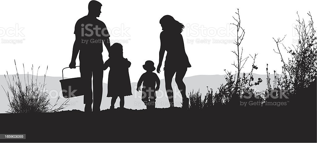 Family Picnic Vector Silhouette royalty-free stock vector art