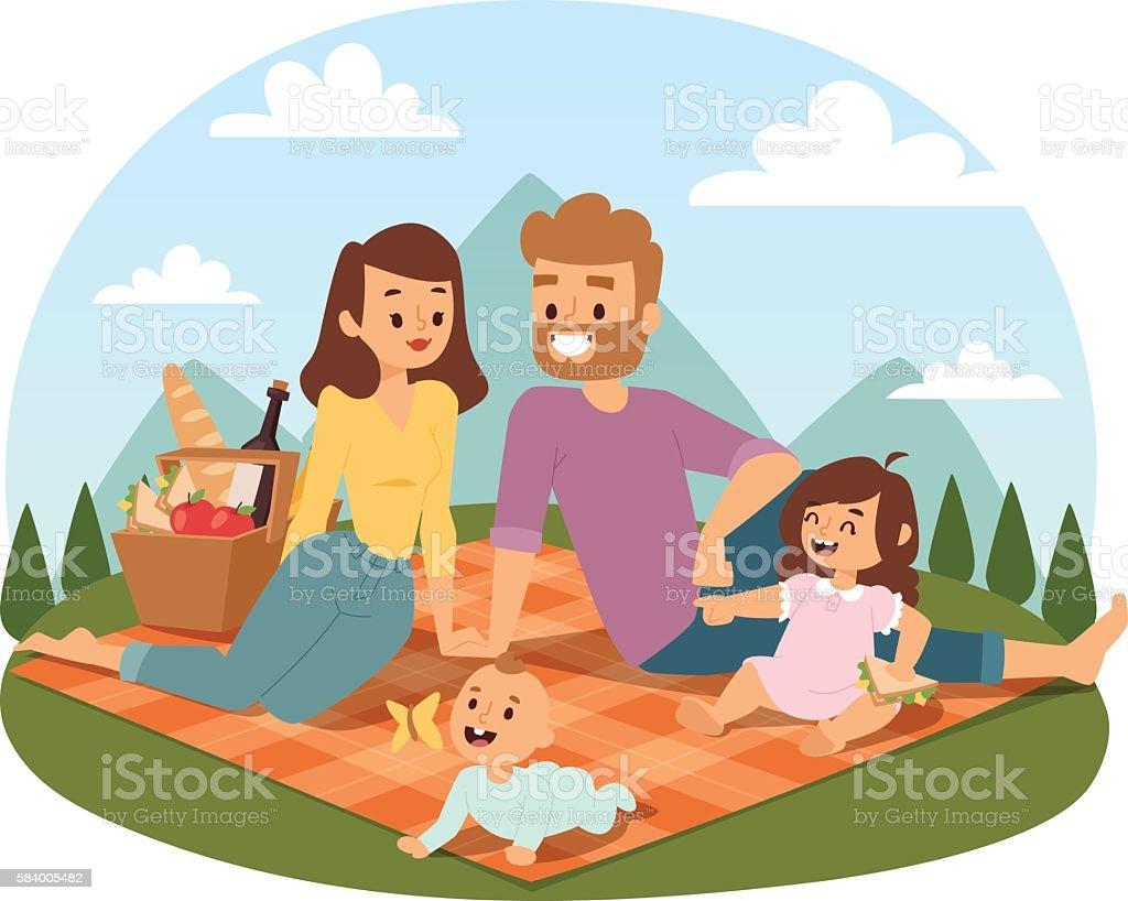 Family picnicking summer vector vector art illustration