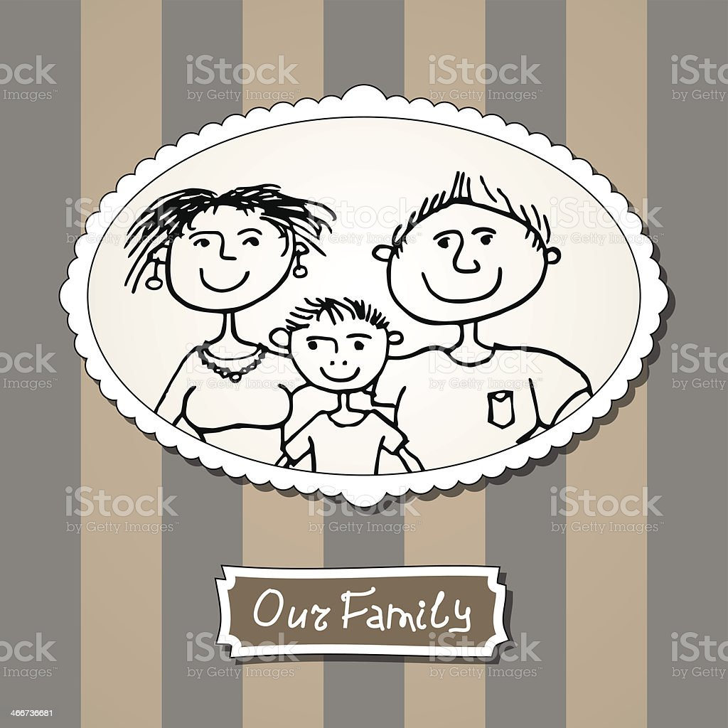 Family picture with parents and son royalty-free stock vector art