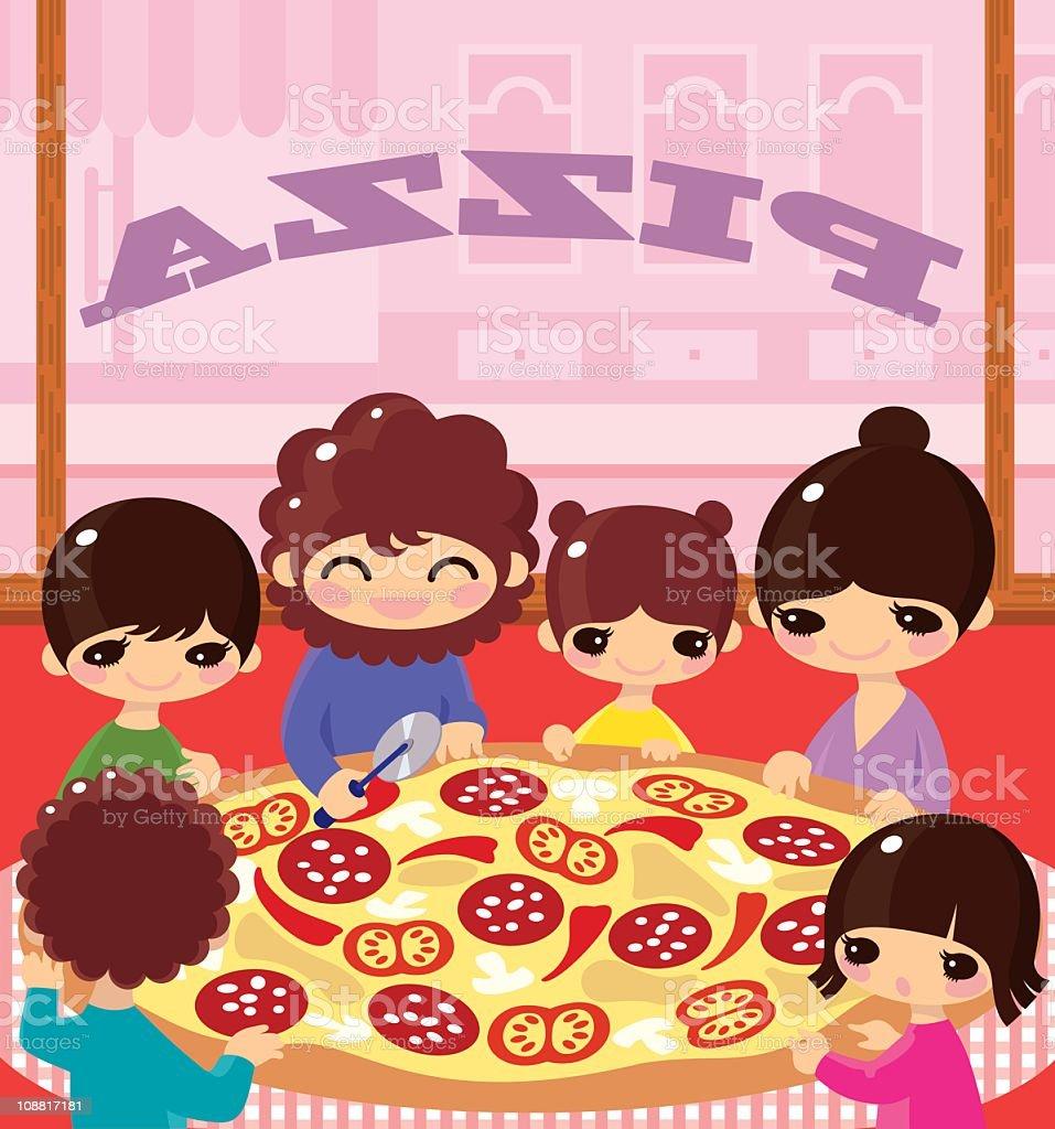 Family pizza. vector art illustration