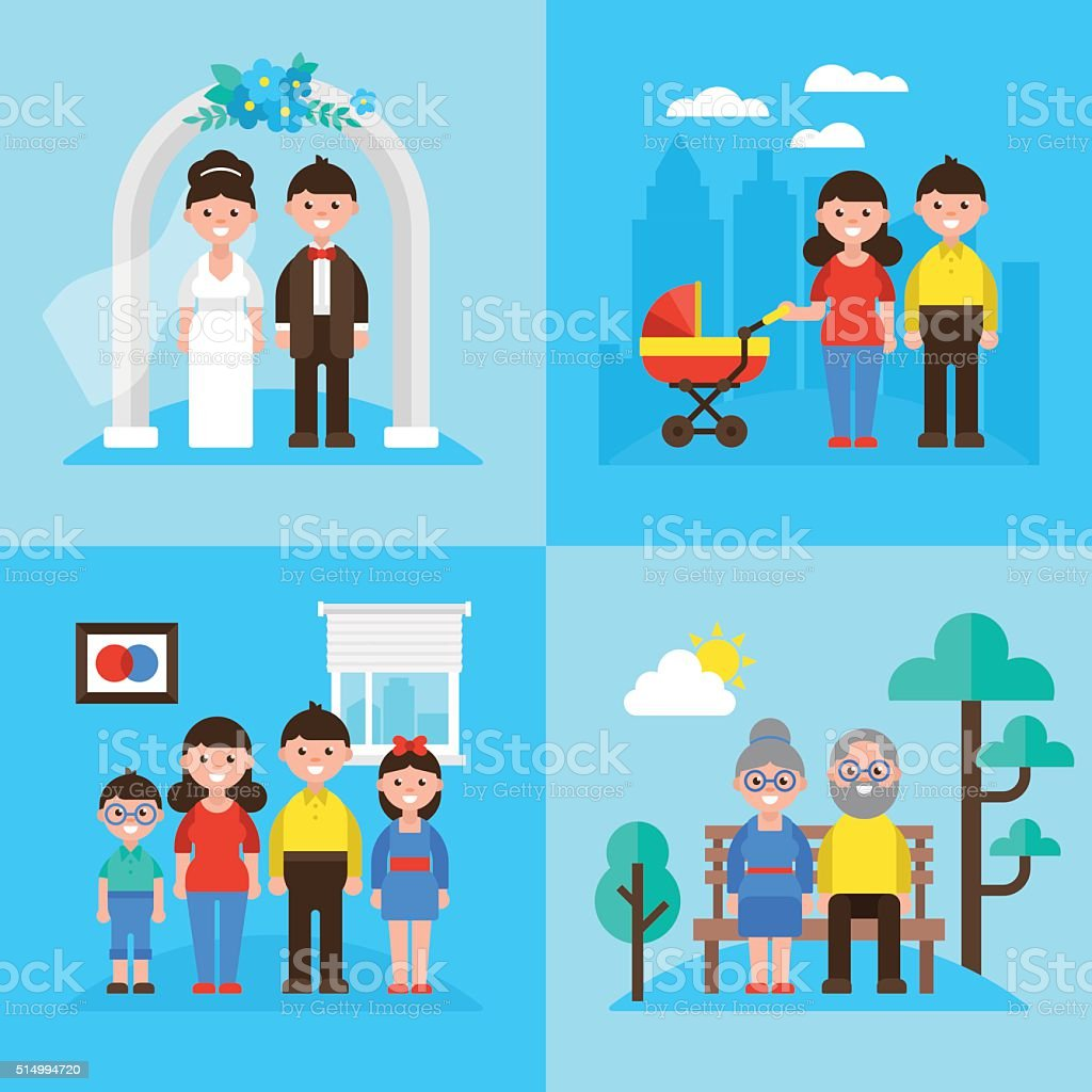 Family planning concept, marriage, young parents, kids and seniors vector art illustration