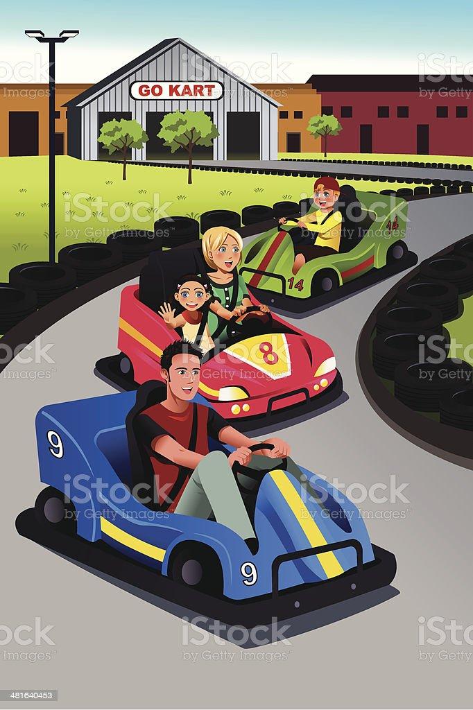 Family playing go-kart vector art illustration
