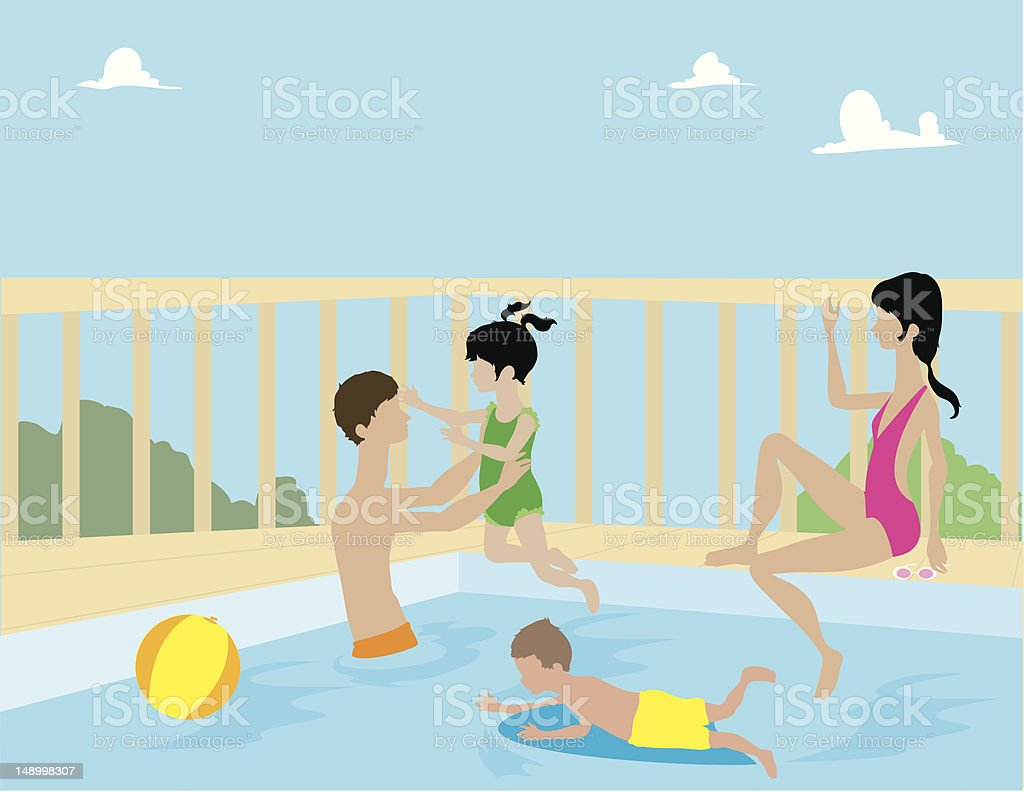 Family Playing in Pool royalty-free stock vector art