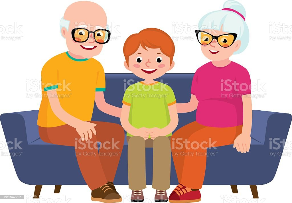 Family portrait of a grandmother, grandfather and grandson sitting together vector art illustration