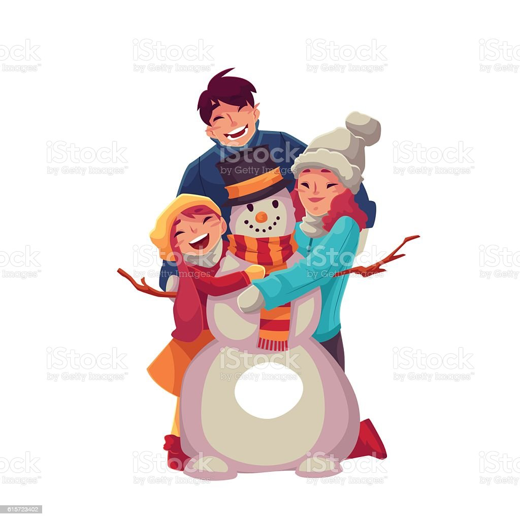 Family portrait of father, mother and daughter making a snowman vector art illustration