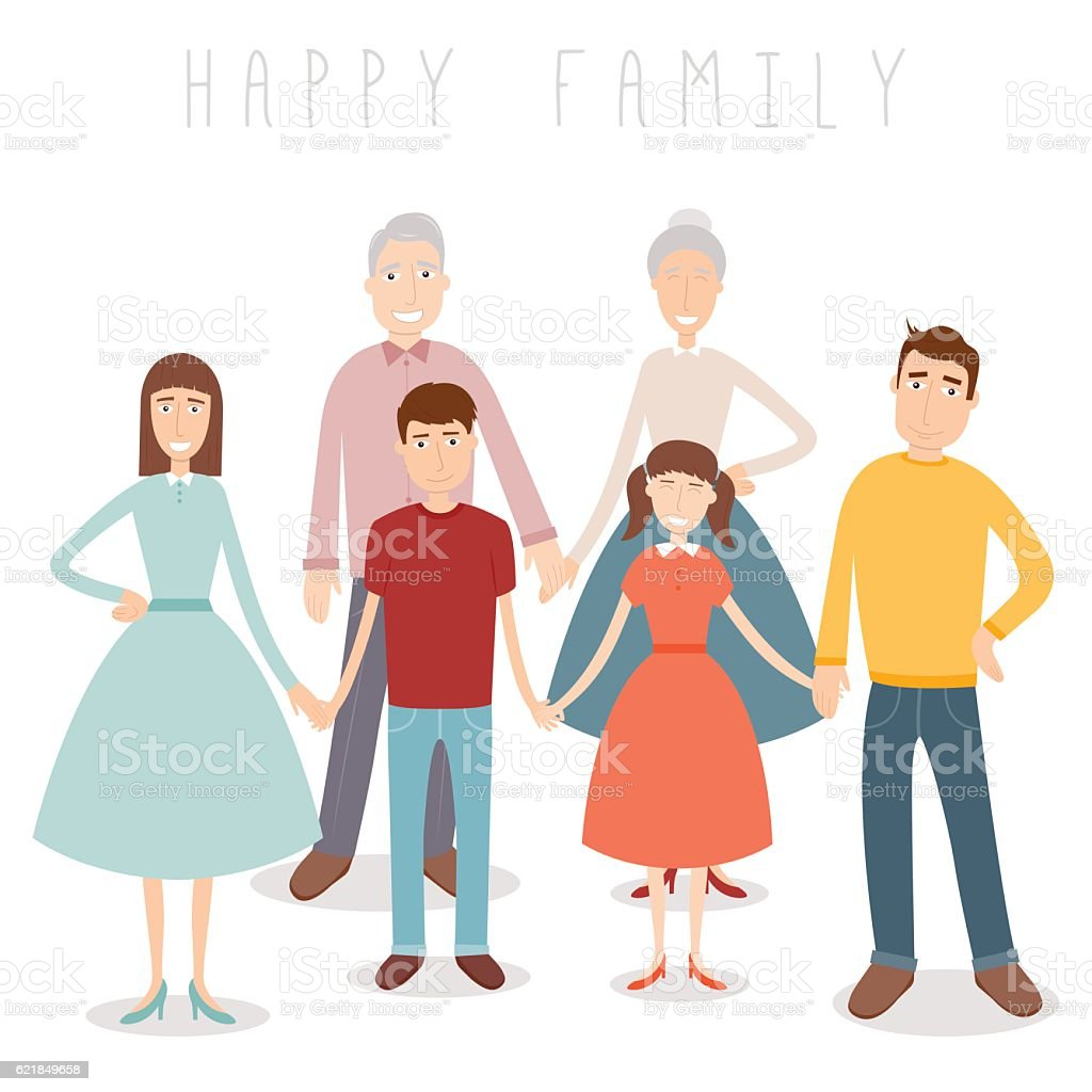 Family portrait. Traditional family. Vector royalty-free stock vector art