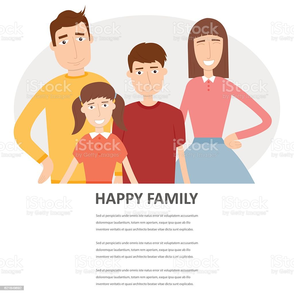 Family portrait with space for text. Traditional family. Vector royalty-free stock vector art