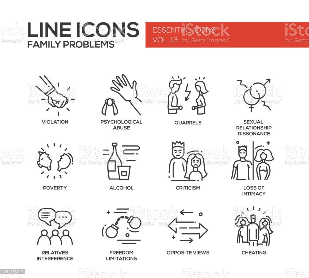 Family problems- line design icons set vector art illustration