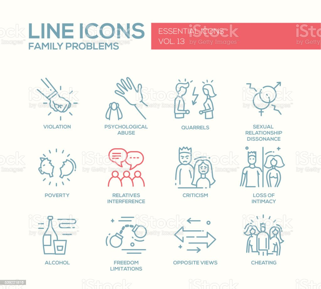 Family problems- line design icons set vector art illustration