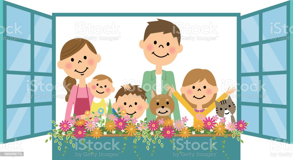 Family put his head out the window vector art illustration