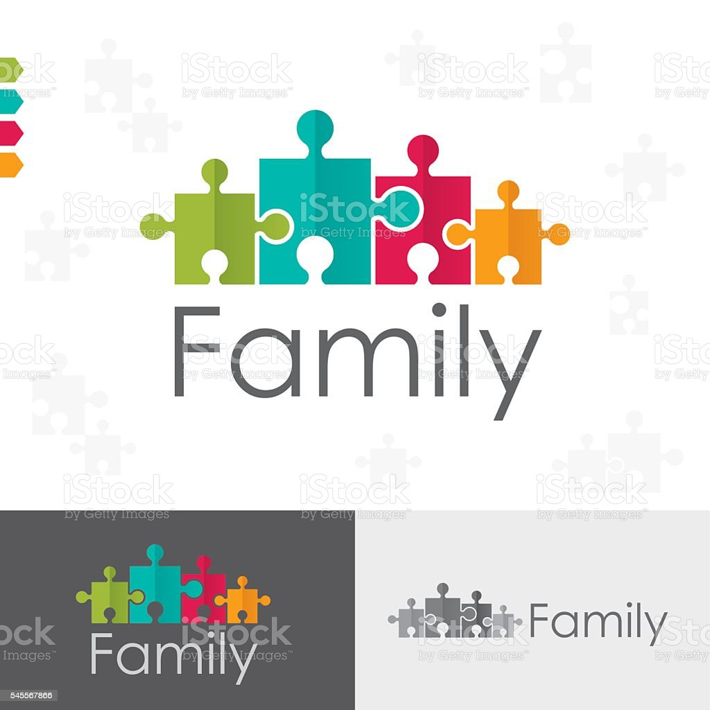 Family Puzzles Concept vector art illustration