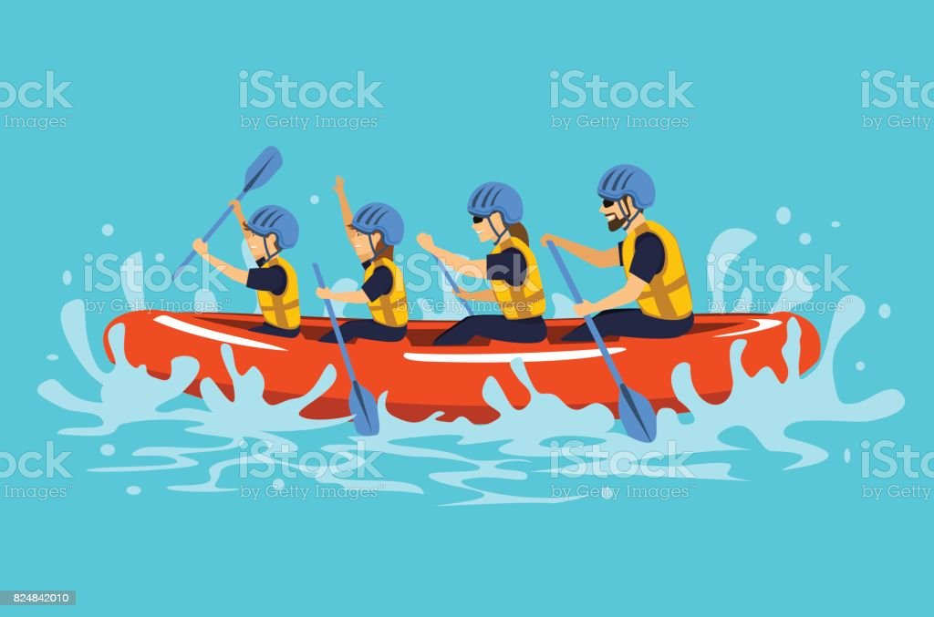 Family rafting vector ilustration vector art illustration