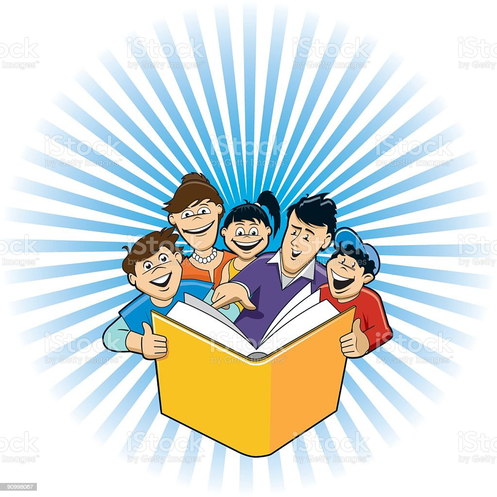 Family reading a book together royalty-free stock vector art