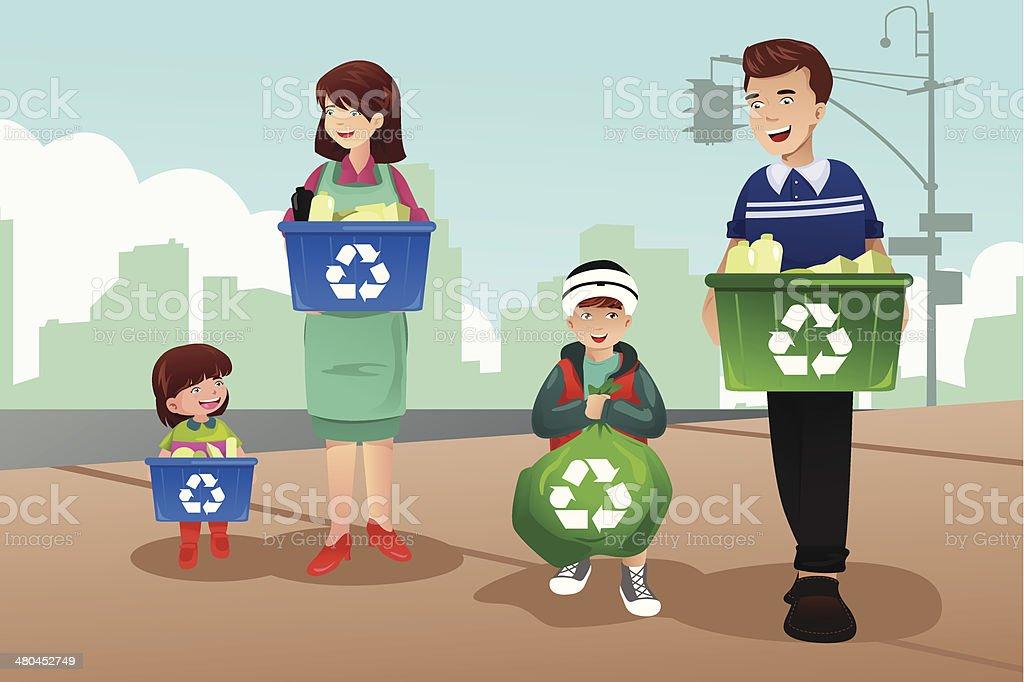 Family recycling vector art illustration