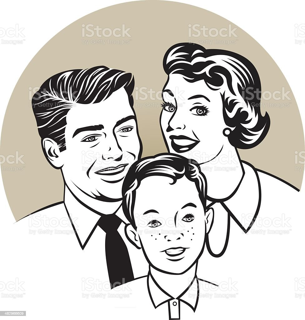 family retro vector art illustration