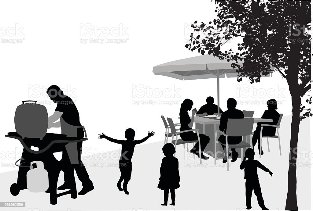 Family Reunion Barbecue vector art illustration