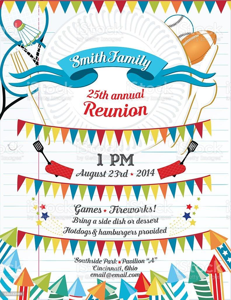 Family Reunion BBQ Invitation Template vector art illustration