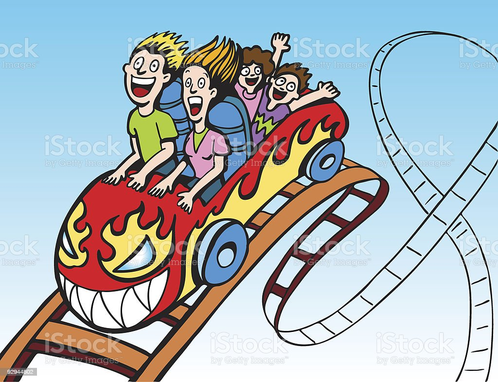 Family Riding Rollercoaster royalty-free stock vector art