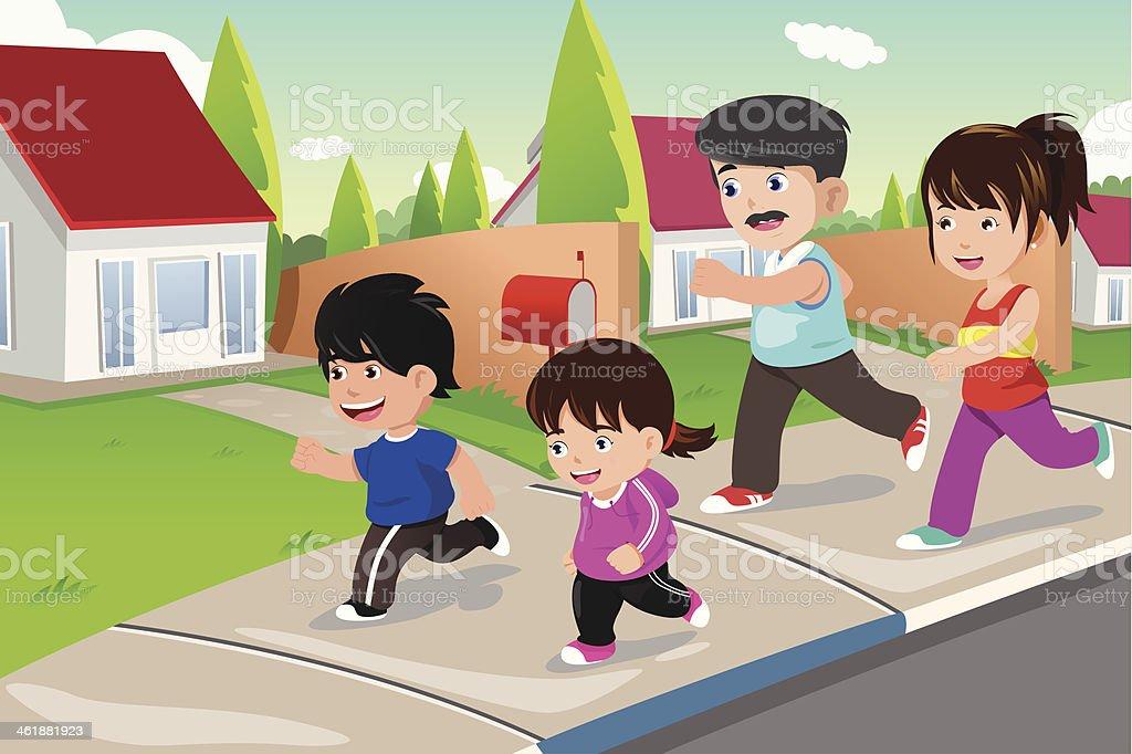 Family running outdoor in a suburban neighborhood vector art illustration